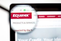 Kiev, Ukraine - april 5, 2019: Equifax logo on the website homepage stock image