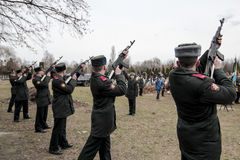 KIEV,UKRAINE - April. 3, 2015: Funeral ceremony for ukrainian serviceman Igor Branovitskiy who was killed in the eastern Ukraine Royalty Free Stock Photos