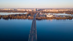 Kiev, Ukraine April, 4: Panorama of Kiev with the bridge across the Dnieper River and the left part of the city royalty free stock photos