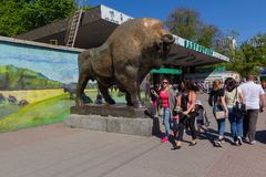Kiev, Ukraine - April 30, 2018: People with families go to the zoo. On a day off stock photos
