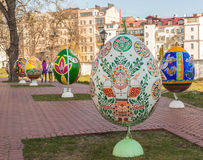 KIEV, UKRAINE - APRIL11 : Pysanka - oeuf de pâques d'Ukrainien L'exhi Images stock