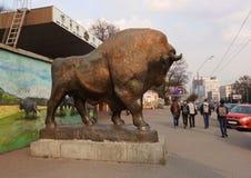 Sculpture of a bison near the zoo in Kiev. Kiev, Ukraine - April 11, 2018, Sculpture of a bison on the street near the zoo in Kiev royalty free stock photo