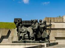KIEV, UKRAINE - April 17, 2017: Soldiers - liberators of Kiev, Motherland monument, Kiev, Ukraine. Sculptural group depicting the crossing of the Dnieper River Royalty Free Stock Image