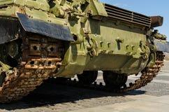 KIEV, UKRAINE - April 17, 2017: Tank T34, Motherland monument, April 17, 2017, Kiev, Ukraine. Back view close-up on tank T34, open-air museum Motherland monument Stock Photo