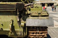 KIEV, UKRAINE - April 17, 2017: Tank T34, Motherland monument, Kiev, Ukraine. Back view close-up on  fragmen of tank T34, open-air museum Motherland monument Stock Photography