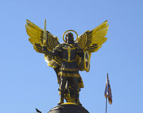 Kiev, Ukraine. Archangel Michael Saint patron of Kiev in independence square, Kiev royalty free stock photography