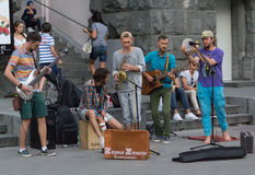 Kiev, Ukraine - August 30, 2015: Band holds an impromptu concert Royalty Free Stock Images