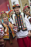 Kiev, Ukraine - August 24, 2013 Celebration of Independence day, beautiful couple in ethnic clothing Royalty Free Stock Images
