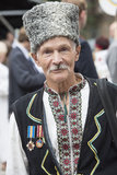 Kiev, Ukraine - August 24, 2013 Celebration of Independence day, elderly man Royalty Free Stock Photo