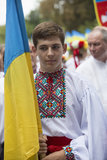 Kiev, Ukraine - August 24, 2013 Celebration of Independence day, handsome young man Royalty Free Stock Photo