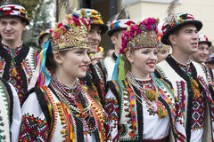 Kiev, Ukraine - August 24, 2013 Celebration of Independence day, men and women in ethnic clothing Royalty Free Stock Images