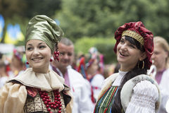 Kiev, Ukraine - August 24, 2013 Celebration of Independence day, women in ethnic clothing Royalty Free Stock Photography