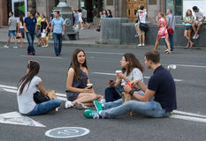 Kiev, Ukraine - August 30, 2015: Citizens and tourists have a rest on the street Khreshchatyk Royalty Free Stock Image