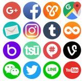 Collection of round popular social media logos. Kiev, Ukraine - August 11, 2017: Collection of round popular social media logos printed on paper: Facebook vector illustration