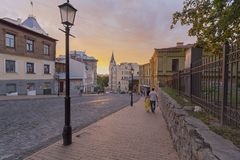 Kiev, Ukraine - August 30, 2017: Evening in the street Andreevsky Descent. The historic city center Royalty Free Stock Photos