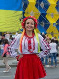 Kiev, Ukraine - August 24, 2016: Girl in the Ukrainian national clothes on Independence Square Royalty Free Stock Image
