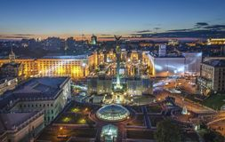 View of Independence Square Maidan Nezalezhnosti in Kiev, Ukraine Stock Images