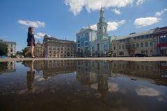 Kiev, Ukraine - August 09, 2017: Kontraktova square in the afternoon. After rain stock image