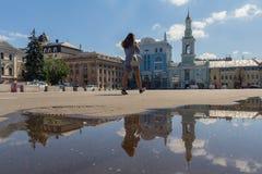 Kiev, Ukraine - August 09, 2017: Kontraktova square after rain. Kiev, Ukraine - August 09, 2017: Kontraktova square in the afternoon after rain royalty free stock photos