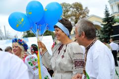 KIEV, UKRAINE - AUGUST 24: Mega march of embroideries in the Ukrainian capital Kyiv. Peaceful time Stock Photography