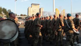 KIEV, UKRAINE - AUGUST 24, 2017: Military parade in Kyiv, to the Independence Day of Ukraine Rows of marching national. KIEV, UKRAINE - AUGUST 24, 2017: Military stock video footage