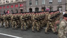 KIEV, UKRAINE - AUGUST 24, 2017: Military parade in Kyiv, to the Independence Day of Ukraine Rows of marching national. KIEV, UKRAINE - AUGUST 24, 2017: Military stock footage