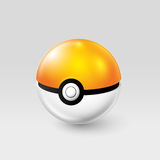 Kiev, Ukraine - 02 august, 2016: orange pokemonball vector illustration. Poke ball in orange and white colors. Incubator from the game Pokemon go. Realistic Royalty Free Stock Photos