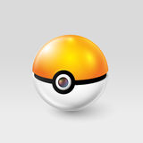 Kiev, Ukraine - 02 august, 2016: pokeball from PokemonGo. Poke ball in orange and white colors. Ball with dark point from the game Pokemon go. Thing that will stock illustration