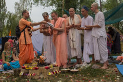 Kiev, Ukraine - August 06, 2017: Priests perform the Vedic ritual. At the festival `Vedalife royalty free stock photo