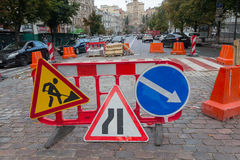 Kiev, Ukraine - August 30, 2016: Prohibiting signs on the site o. F road repairs Royalty Free Stock Photos