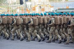 Kiev, Ukraine - August 19, 2018: Servicemen of the Ukrainian Army on rehearsal of the military parade stock images
