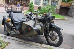 Kiev, Ukraine - August 30, 2016: Soviet military motorcycle Dnepr MV-650M parked on a city street stock photo