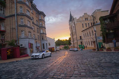 Kiev, Ukraine - August 30, 2016: Sunset on the street St. Andrew's descent Royalty Free Stock Images