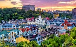 Kiev, Ukraine, banlieue de Vozdvyzhenka au centre de la ville historique image libre de droits