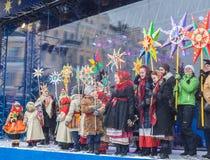 KIEV, UKRAINE: Christmas festivities in Kiev. KIEV, UKRAINE-Jan 7, 2017: Christmas procession with the singing of Christmas carols in Kiev, Ukraine Royalty Free Stock Images