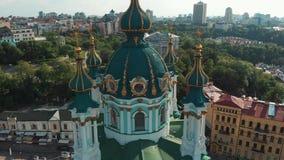 Kiev Ukraine church religion aerial view stock video footage