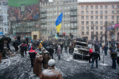 KIEV, UKRAINE: Crowd of people protest with flags  Royalty Free Stock Images
