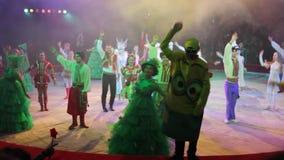 Kiev, Ukraine, December 2017. Actors dance in the circus arena. Kiev, Ukraine, December 2017. Actors dance in the circus arena in Kiev stock footage