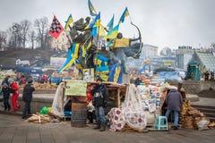 kiev ukraine 19 december, 2013 Centrale straat van het stadsverstand stock foto's