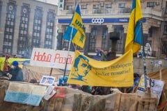 kiev ukraine 19 december, 2013 Centrale straat van het stadsverstand royalty-vrije stock foto's