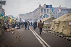 kiev ukraine 19 december, 2013 Centrale straat van het stadsverstand royalty-vrije stock fotografie
