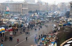 kiev ukraine 19 december, 2013 Centrale straat van het stadsverstand stock afbeelding