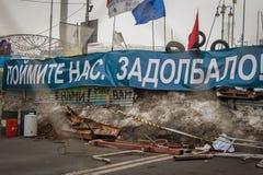 kiev ukraine 19 december, 2013 Centrale straat van het stadsverstand stock foto