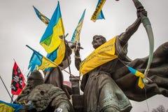 kiev ukraine 19 december, 2013 Centrale straat van het stadsverstand stock fotografie