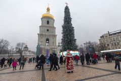 Kiev, Ukraine - December 30, 2018: Christmas tree on Sofiyskaya Square stock image