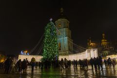 Kiev, Ukraine - December 28, 2017: Christmas tree on St. Sophia square. In the evening Stock Photo
