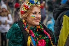 kiev ukraine 19 december, 2013 Mensen op Centrale straat van Th royalty-vrije stock foto