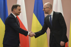 KIEV, UKRAINE - December 15, 2015: Official visit of the President of the Republic of Poland Andrzej Duda in Ukraine Stock Images