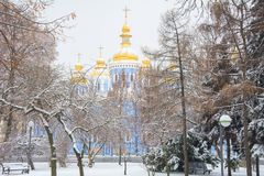 St. Michael`s Cathedral in winter cold stock photos