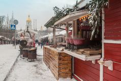 KIEV, UKRAINE:Different types of mulled wine and snacks in the C Stock Image
